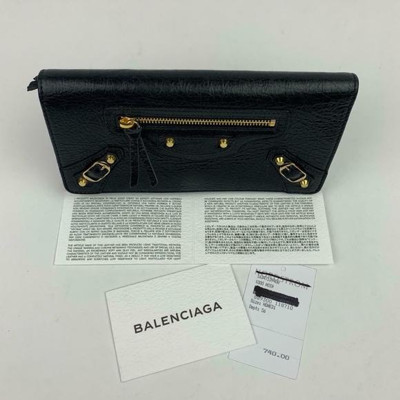 Balenciaga Handbags - BALENCIAGA Classic Money Leather Wallet (Preloved)